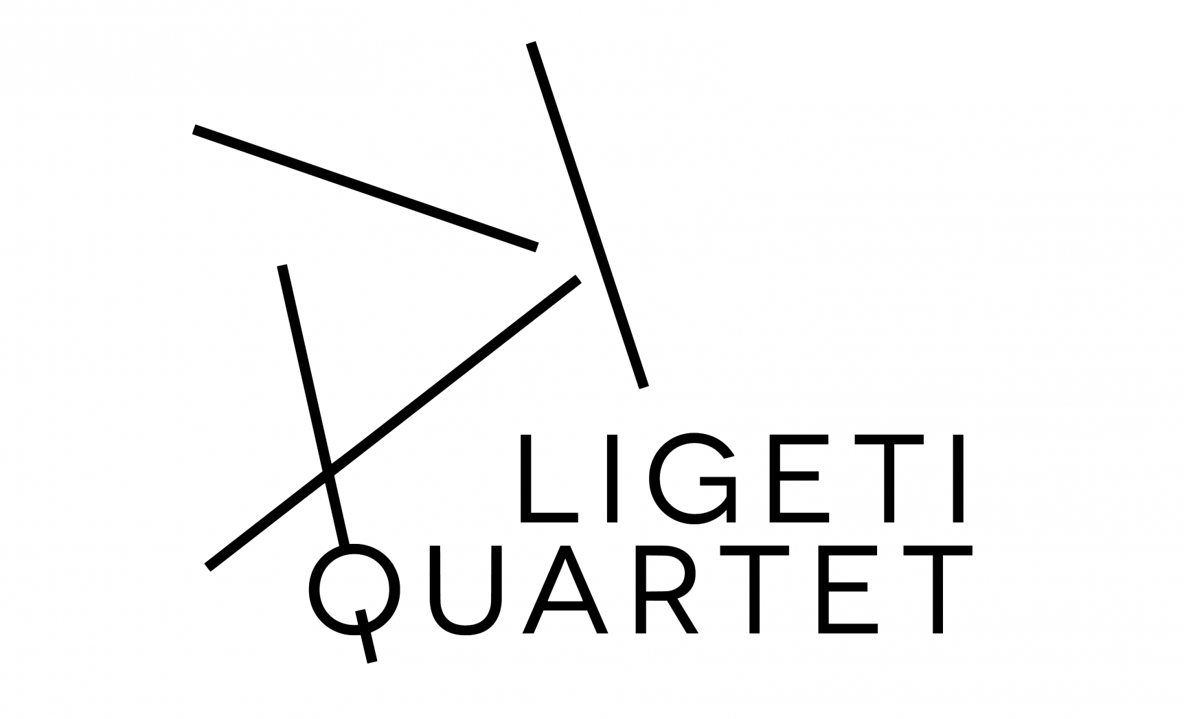 Ligeti Quartet logo (text with four intersecting lines in pattern top left)
