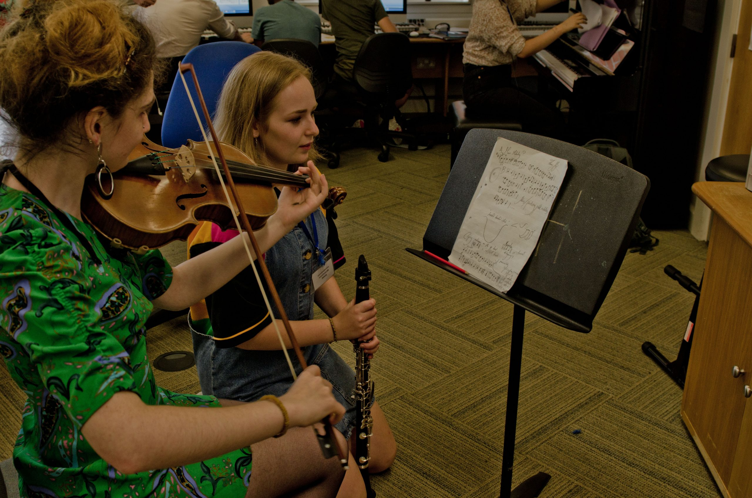 Musicians working on a new piece